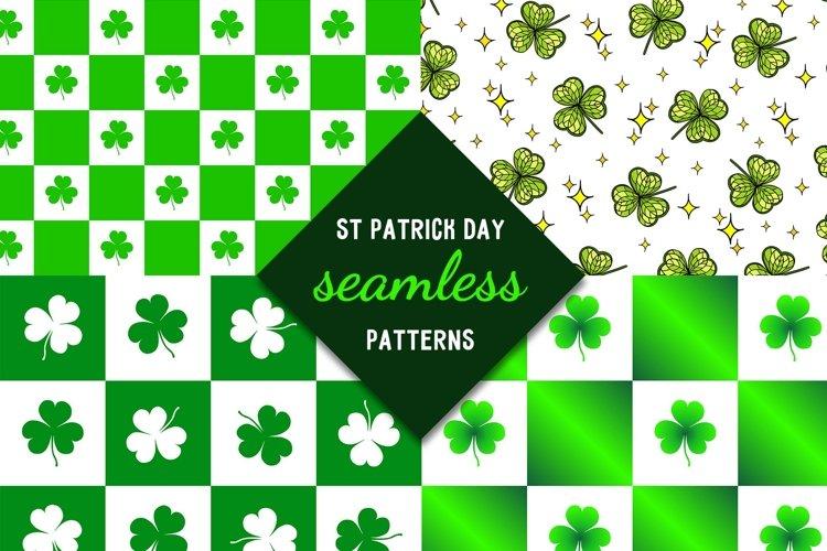 St. Patrick Day seamless pattern with shamrock digital paper