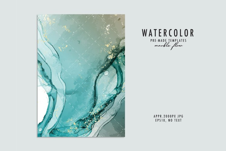 Blue watercolor abstract alcohol ink background vector example image 1