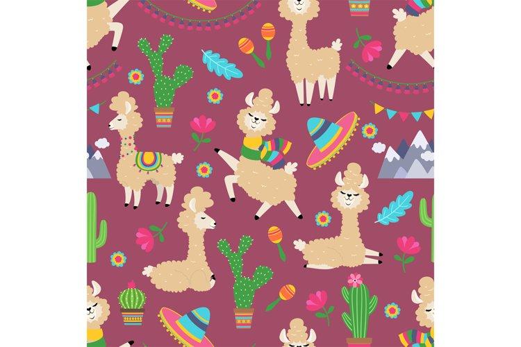 Llama seamless pattern. Alpaca baby and cactus girly textile example image 1