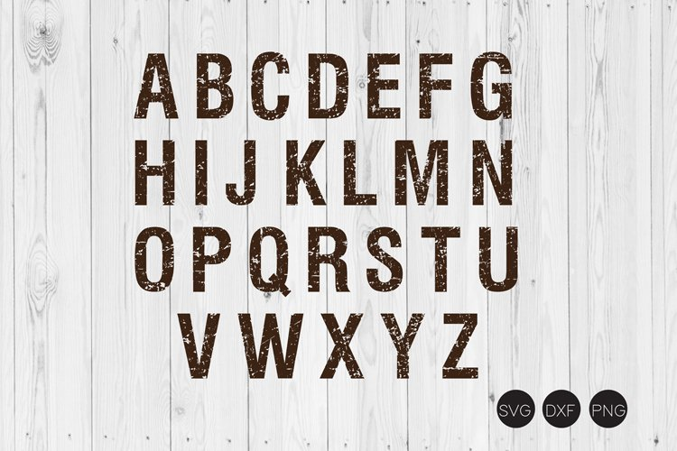 Distressed Alphabet A-Z SVG, DXF, PNG Cut File example image 1