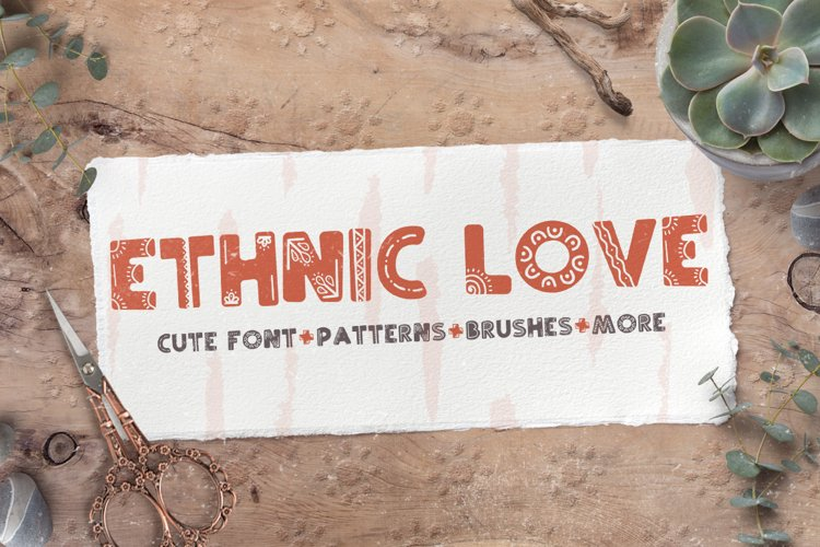 Ethnic love font BUNDLE 40 ELEMENTS