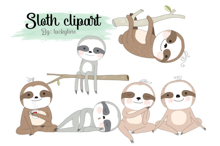 Sloth clipart Instant Download PNG file - 300 dpi example image 1