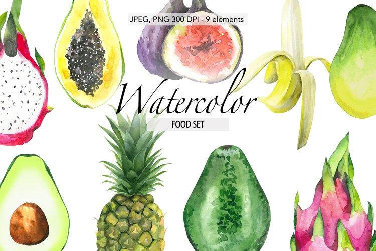 Watercolor fruits Avocado Tropical clipart Banana Exotic