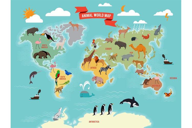 Illustration of wildlife animals on the world map. Vector il example image 1
