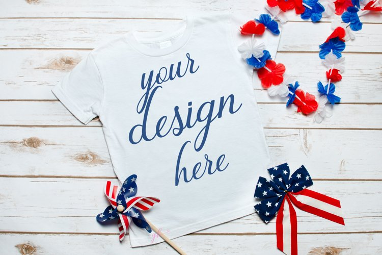 4th of July White Toddler Shirt Mockup, Fourth of July
