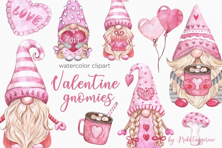Watercolor Valentine Gnomes PNG Clipart Valentines Day