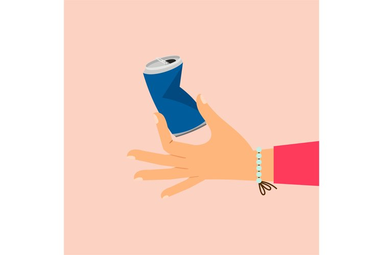 Woman hand holding broken aluminum can example image 1