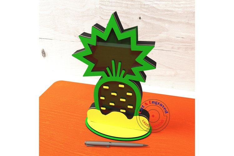 Pineapple shaped bank design. Glowforge ready vectors. example image 1