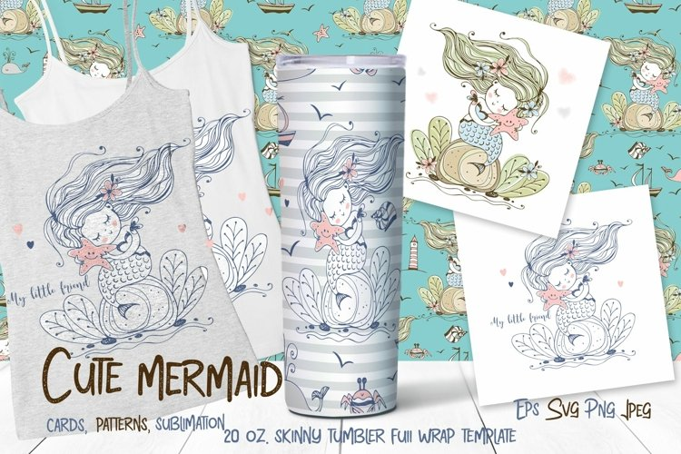 Skinny tumbler Png. Cute mermaid clipart sublimation Png Svg example image 1