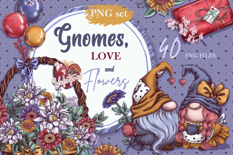 Gnomes, love and flowers. Hand-drawing clipart. example image 1