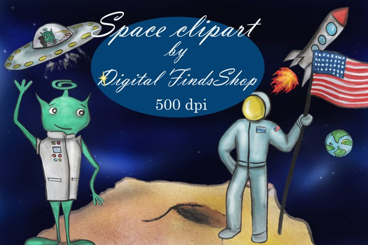 Space clipart, cosmos clipart, UFO clipart, alien clipart