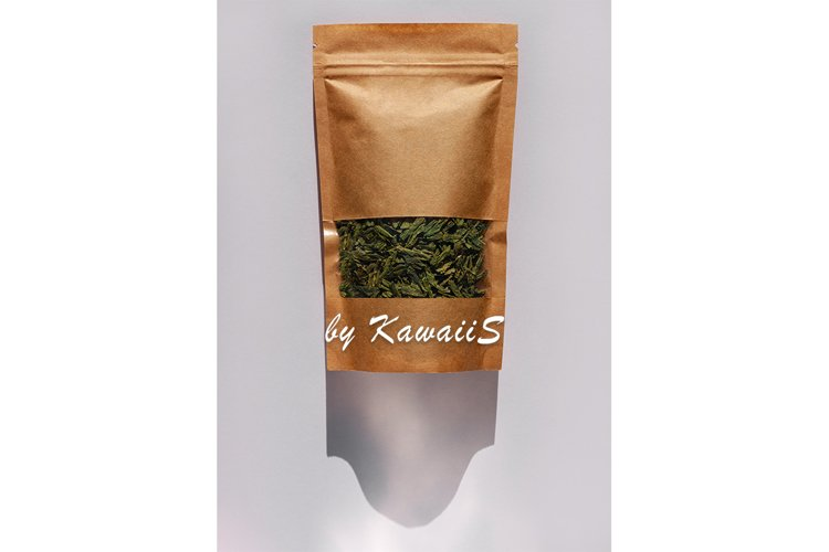 Kraft paper green tea pouch bag mockup top view with shadow example image 1