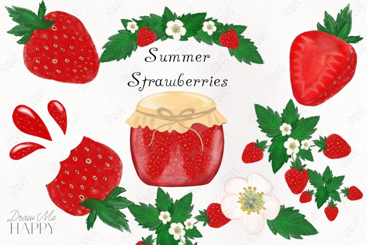 Strawberry Clipart, Fruit Clipart, , Strawberries, Summer