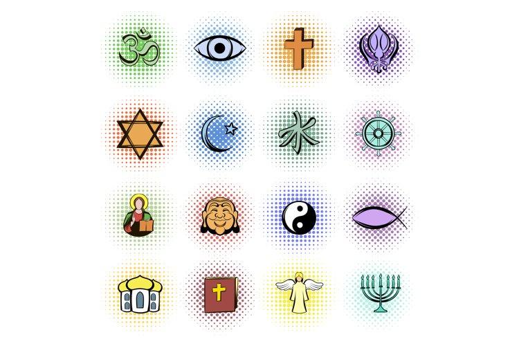 Religion comics icons set example image 1