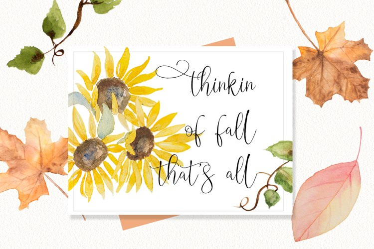 Sunflower and Fall Leaves Clip Art & Paper Bundle