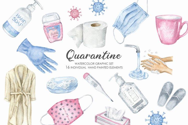 Watercolor Quarantine Clipart Set. Self-isolation clip art