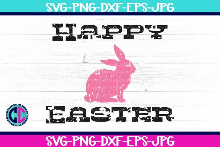 Happy Easter Grunge Bunny SVG example image 1