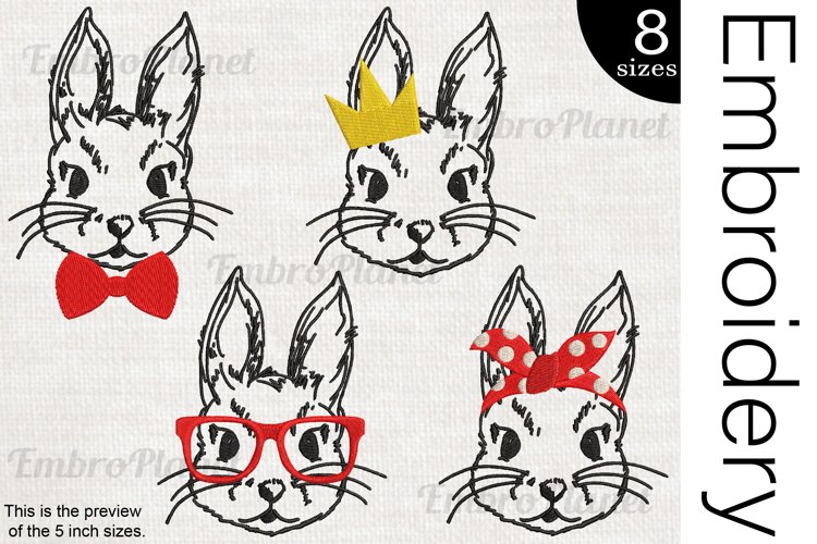 Bunnies - Embroidery Files - 1472e example image 1