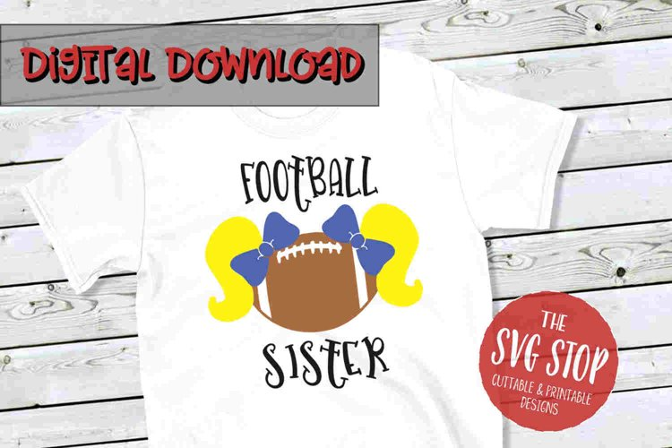 Pigtail Football Sister 2 -SVG, PNG, DXF