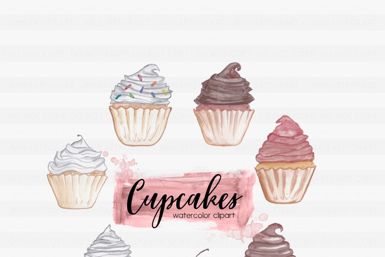 Sweets Clipart-Chocolate Clipart-Cherry Clipart-Cupcake Clipart-Frosting Clipart-Clipart-Watercolor Clipart-Red Velvet-Watercolor Cupcakes
