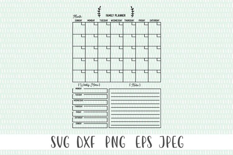 Customizable Family Calendar SVG example 1