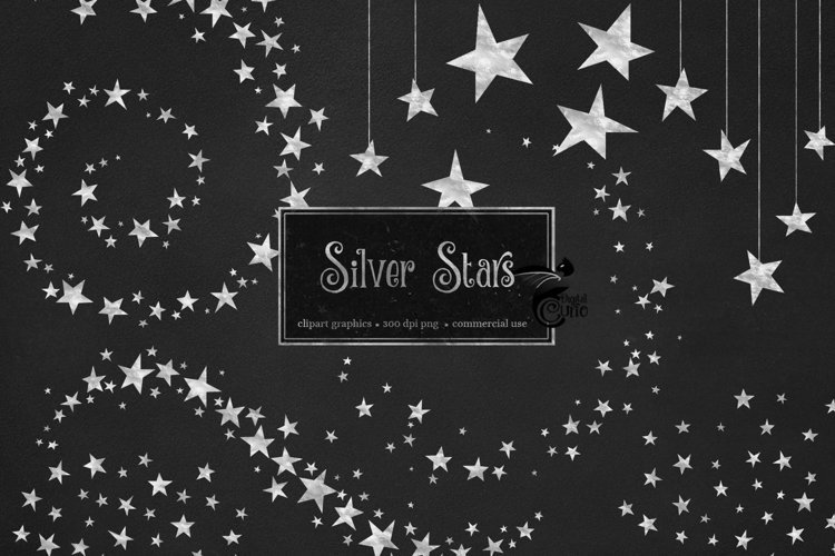 Silver Stars Clipart example image 1