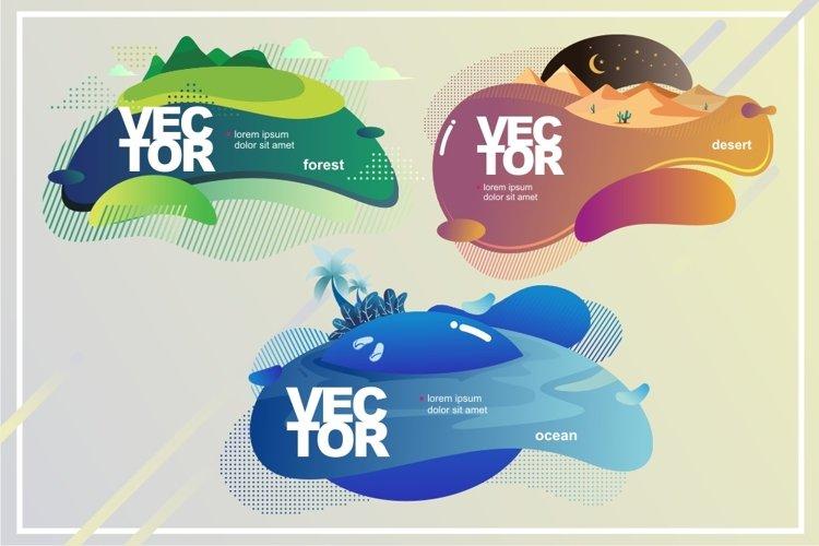 vector nature. Desert, ocean, forest color badges Set