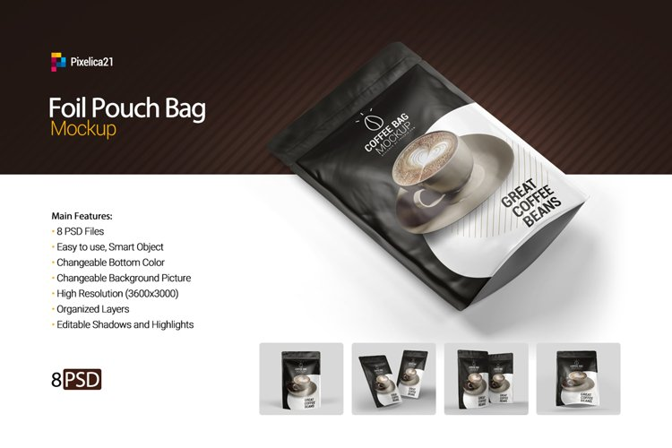 Foil Pouch Bag Mockup example image 1