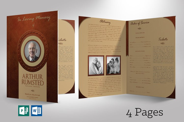 Leather Funeral Program Word Publisher Template 4 PAGES example image 1