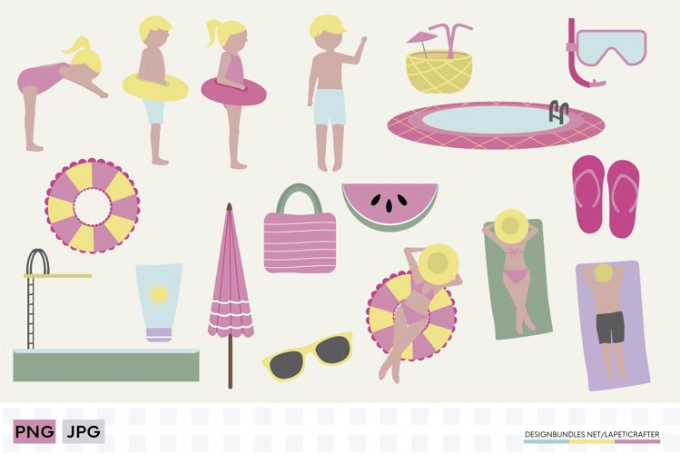 Summer pool clipart set   Family vacations at the pool example image 1