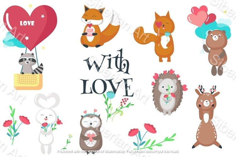 Romantic animals & seamless patterns