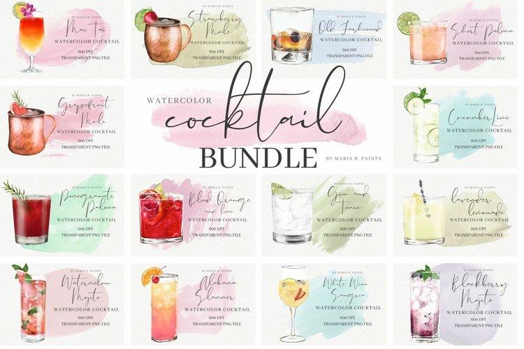 Cocktails Bundle Watercolor Clipart Bar Drink Sign Alcohol