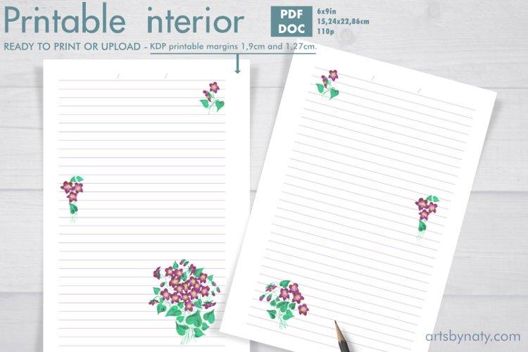 Violet flowers - printable KDP journal. example image 1
