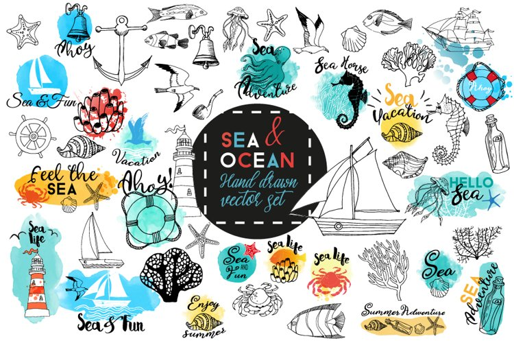 Sea & Ocean.Vector hand drawn set example image 1