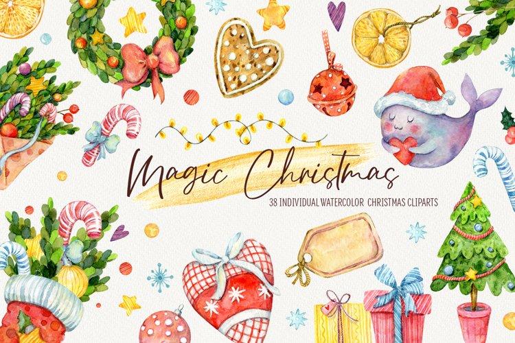 Magic Christmas. Watercolor cartoon cliparts example image 1