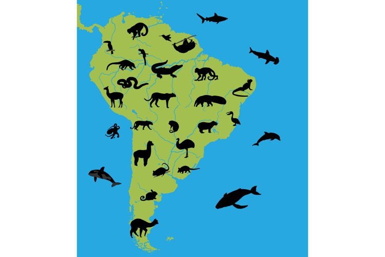 Animals on the map of South America example image 1