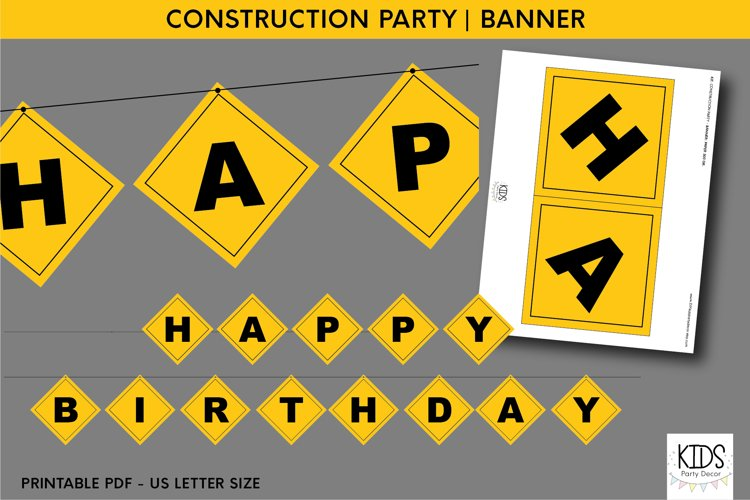 Construction party printable HAPPY BIRTHDAY banner example image 1