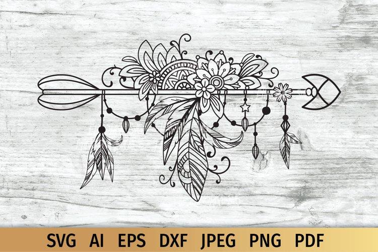 Boho svg   Arrow with flowers, mandala and feathers