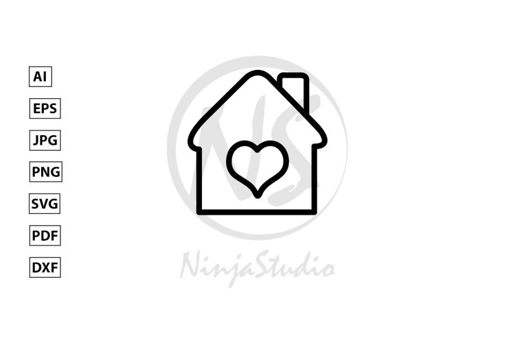 Lovely Home Line Icon In Flat Style Vector example image 1