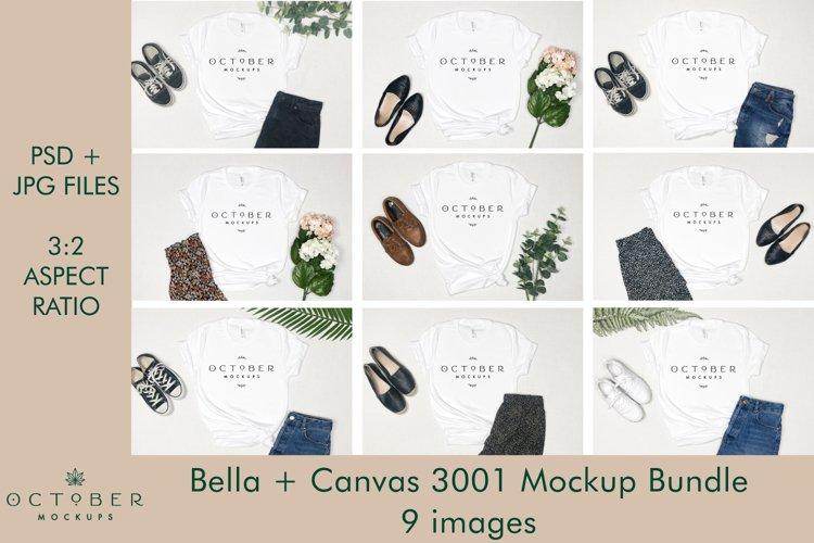 Bella Canvas 3001 Mockup Bundle, White T-shirt Mockup Bundle