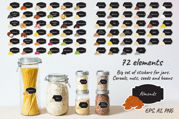 Stickers for jars. 72 labels of cereals, nuts, seeds, beans