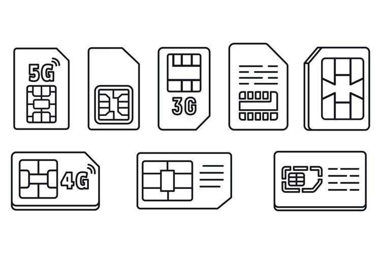 Chip phone card icons set, outline style example image 1