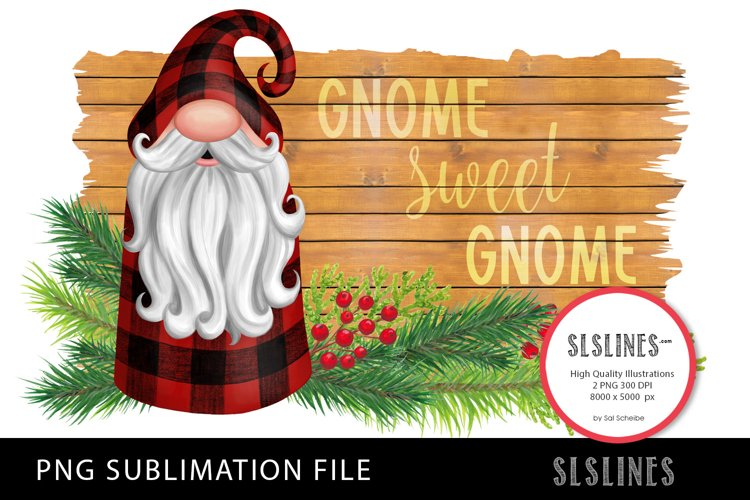 Gnome in Red Plaid PNG sublimation example image 1