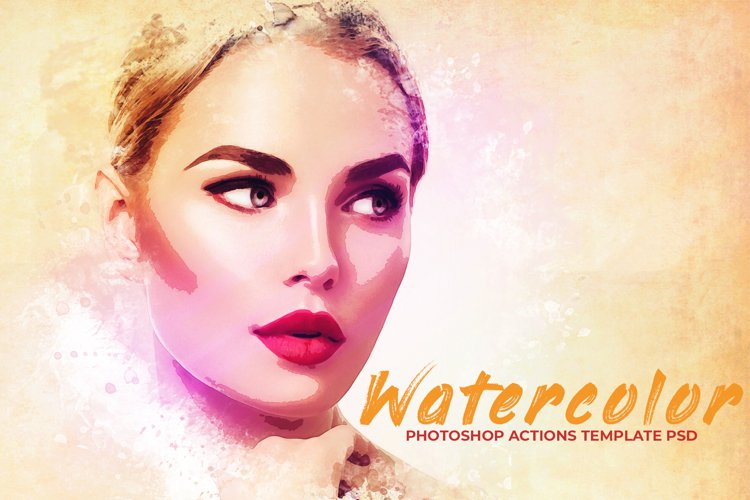 Watercolor Photoshop PSD Template example image 1