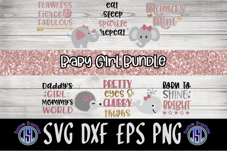 Baby Girl Bundle of 10 | Baby Girl SVG | SVG DXF EPS PNG example image 1