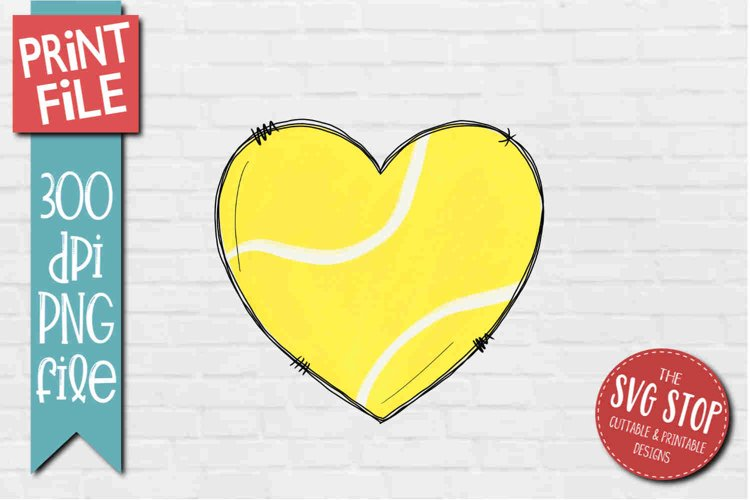 Tennis Doodle Heart Sublimation Design PNG example image 1