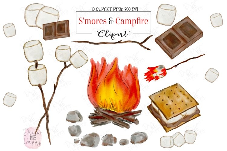 S'mores Clipart, watercolor s'mores, Campfire, Marshmallows example image 1