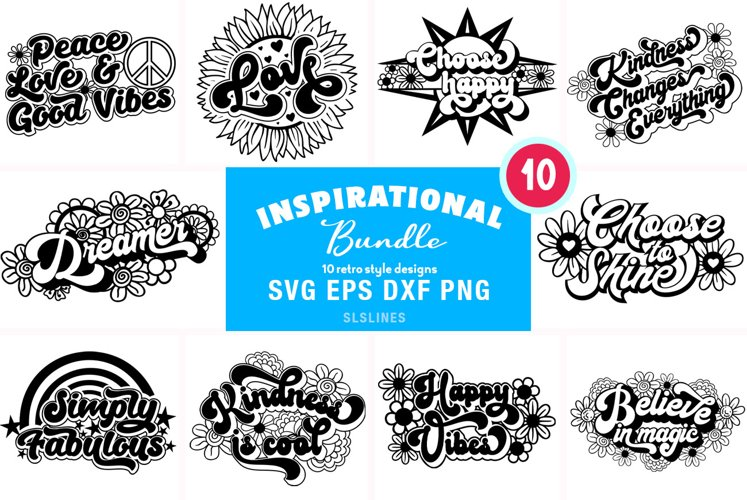 Retro Inspirational Bundle - Vintage Love & Kindness SVG