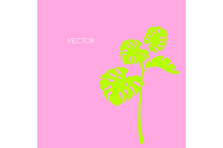 Monstera branch flat color vector background example image 1