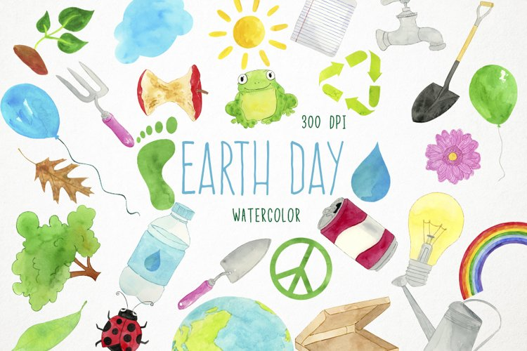 Watercolor Earth Day Clipart, Recycling Clipart, Ecology